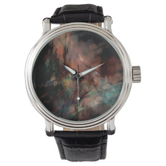 Abstract Dark Black And Blue Pattern Watch