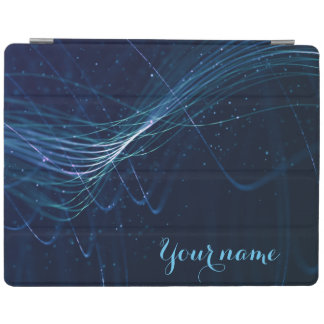 Abstract Dark Blue Lines with Customizable Name iPad Cover