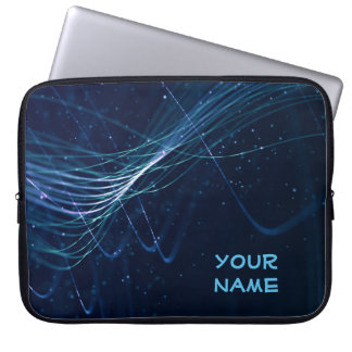 Abstract Dark Blue with Customisable Name Laptop Sleeves