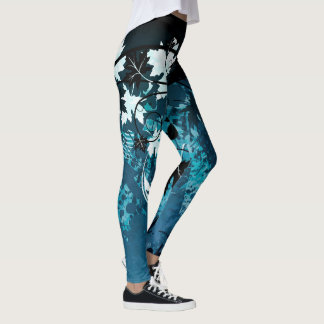 Abstract Dark blues and black Leggings
