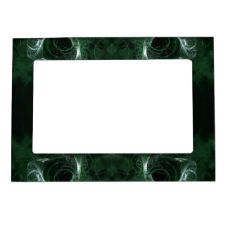 Abstract, Dark Green Fractal Pattern. Magnetic Frame
