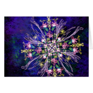 Abstract delicate silk flowers horizontal card