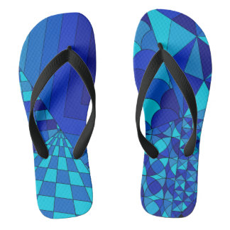 Abstract Design 1 Blue Flip Flops