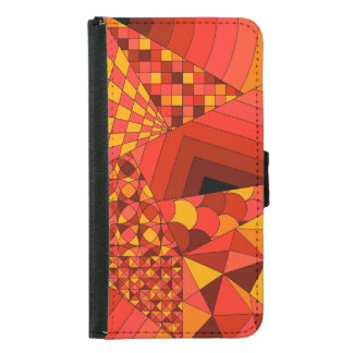 Abstract Design 1 Red Galaxy S5 Wallet Case