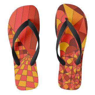 Abstract Design 1 Red Wide Straps Flip Flops