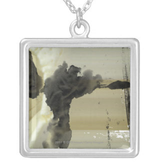 Abstract design and stripes silver plated necklace