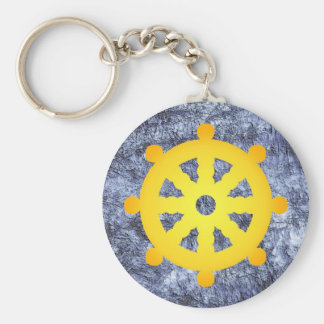 abstract design basic round button key ring