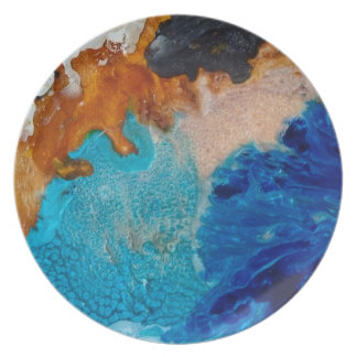 Abstract Design Blue And Brown Background Plate