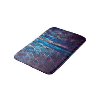 Abstract Design Blue and Silver Glitter Shower Bath Mat