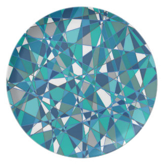 Abstract Design Blue And White Stained Glass Plate