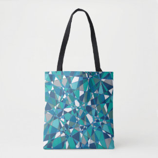 Abstract Design Blue And White Stained Glass Tote Bag