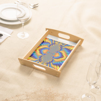 Abstract Design Blue And Yellow Pattern Food Tray