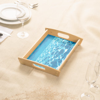 Abstract Design Blue Background Serving Tray