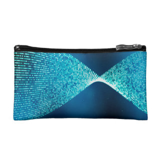 Abstract Design Blue Backround And Silver Spectum Cosmetic Bag