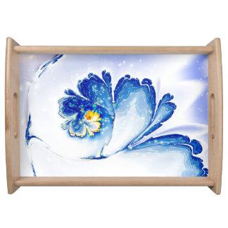 abstract design blue spiral flower fractal serving tray