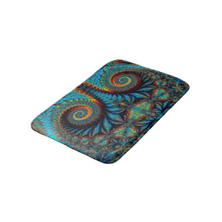 Abstract Design Blue Whirl Background Bath Mat
