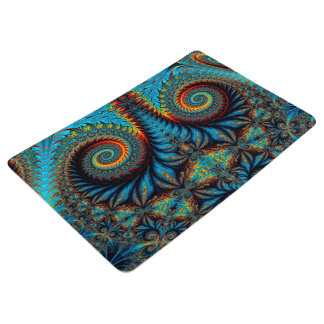 Abstract Design Blue Whirl Background Floor Mat