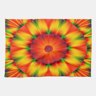 Abstract Design Bright Concentric Circles Tea Towel