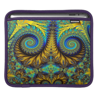 Abstract Design Feather Look Yellow And Blue Whirl iPad Sleeves