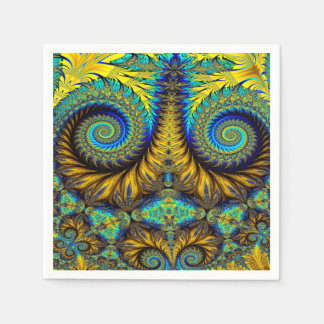 Abstract Design Feather Look Yellow And Blue Whirl Paper Napkins