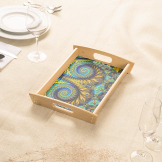 Abstract Design Feather Look Yellow And Blue Whirl Service Trays