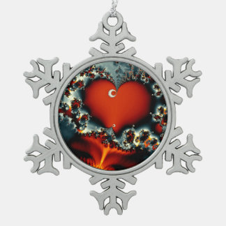 abstract design fractal red heart snowflake pewter christmas ornament