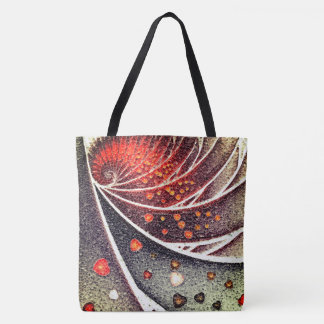 abstract design fractal spiral tote bag