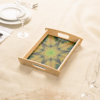 Abstract Design Green And Yellow Serving Trays