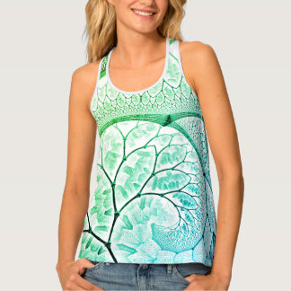 abstract design green fractal spiral tank top