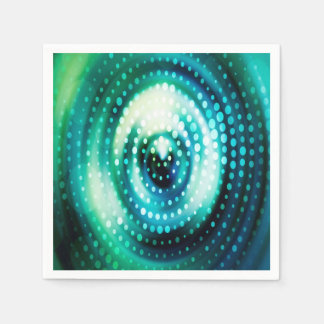 Abstract Design Green & White Concentric Circles Disposable Serviettes