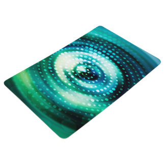 Abstract Design Green & White Concentric Circles Floor Mat