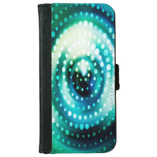 Abstract Design Green & White Concentric Circles iPhone 6 Wallet Case