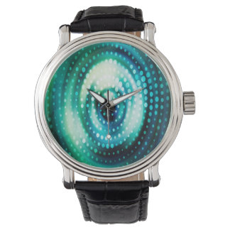 Abstract Design Green & White Concentric Circles Wrist Watches