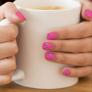 Abstract Design in Dark Coral, pink, and turquiose Minx Nail Art