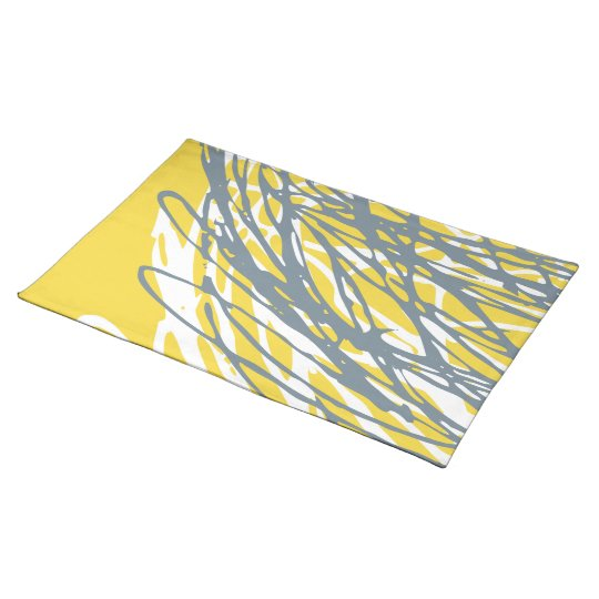 Abstract design in grey and yellow place mat