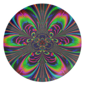 Abstract Design Multi Color Floral Design Party Plate