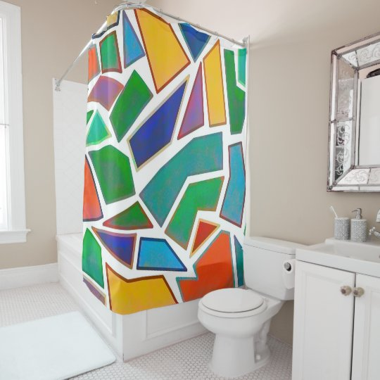 Abstract Design Multi Colour Mosaic Art Pattern Shower
