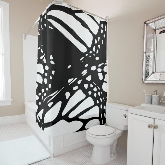 Abstract Design of a Monarch Butterfly Shower Curtain