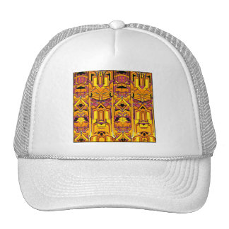 abstract design orang red trucker hats