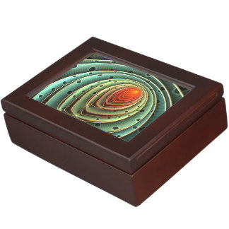 abstract design orange flame concentric circles keepsake box
