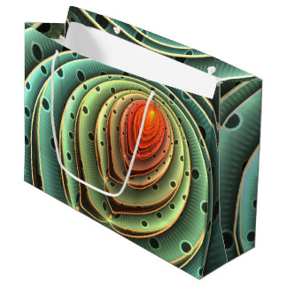 abstract design orange flame concentric circles large gift bag