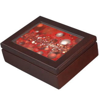 abstract design orbs on red keepsake box