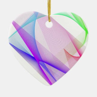 ABSTRACT DESIGN PASTEL COLOURS CERAMIC HEART DECORATION