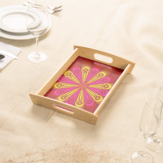 Abstract Design Pink And Yellow Rays Serving Platters