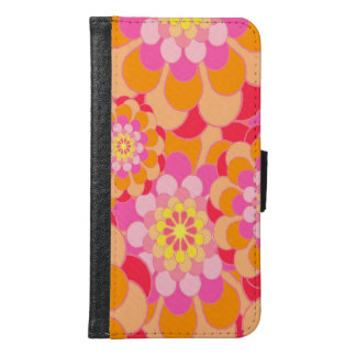 Abstract Design Pink Floral Samsung Galaxy S6 Wallet Case