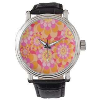 Abstract Design Pink Floral Watch