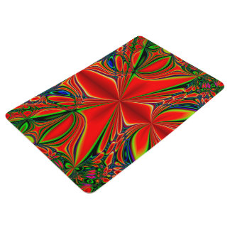 Abstract Design Red And Green Floor Mat