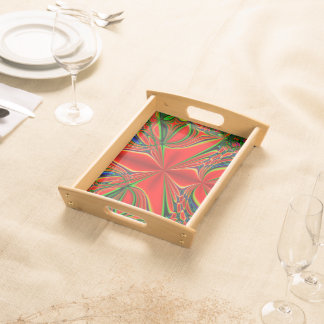Abstract Design Red And Green Serving Tray