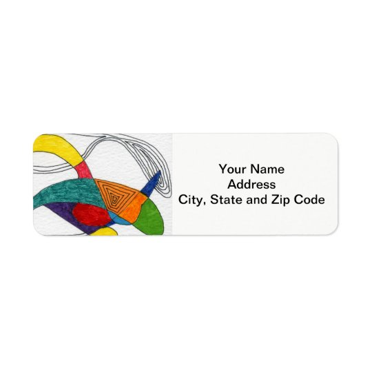 Abstract design return address label, boomerangs.