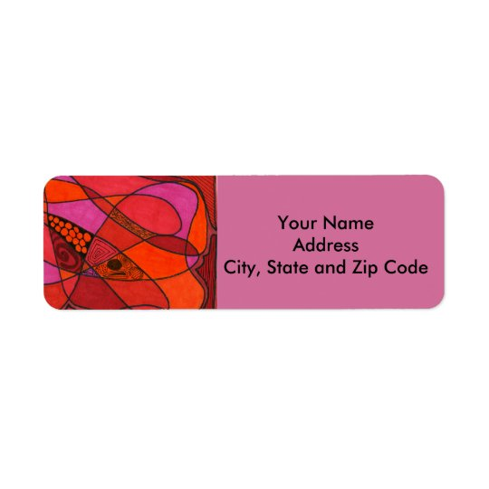 Abstract design return address label in reds.